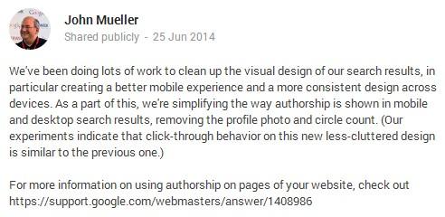 JohnMueller My Take on Google Removing Authorship Photos