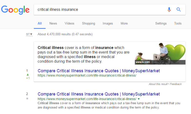 critical illness desktop The Growth of Featured Snippets (2016   2017)