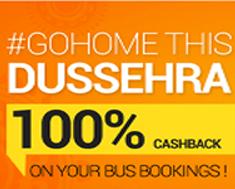 Goibibo Dusshera offer : Book your bus tickets 100% cashback