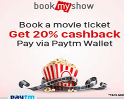 Bookmyshow 20 % off pay via paytm