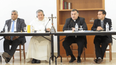Most Rev. Mashar Warda, second from right, speaks to the Order of the Blessed Virgin Mary of Mercy members in Rome.