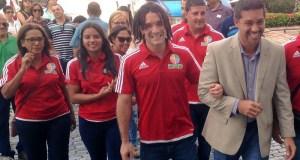 Paola Acuña, Luis Jabdiel Pérez y el secretario de Recreación y Deportes, Ramón Orta.