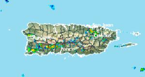 La imagen de radar muestra fuertes aguaceros sobre varios pueblos.