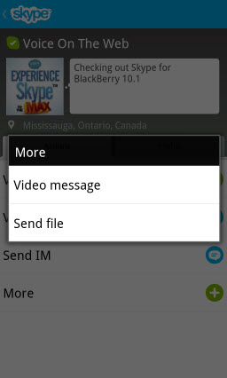 Profile Screen: More Actions - Video Message, Send a File