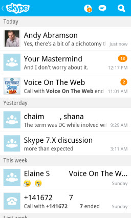 Recent conversations screen and log