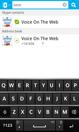 Search Contacts - Skype and BB10 Address Book