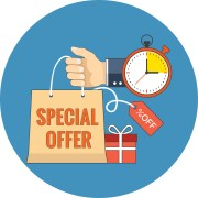 Limited time special offer concept. Flat design. Icon in blue circle on white background