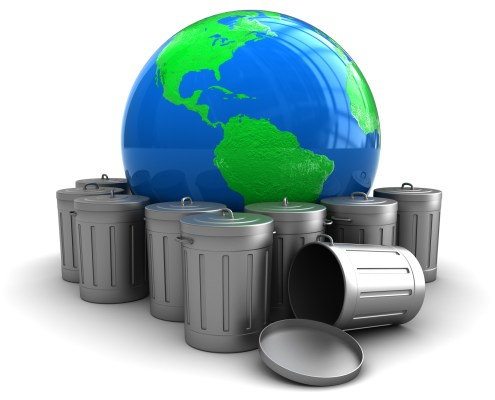 3d illustration of earth globe with trash cans, environment pollution concept
