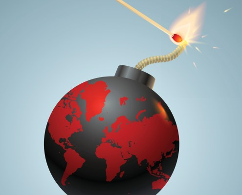 Vector illustration of a bomb with World map and match in fire and sparks
