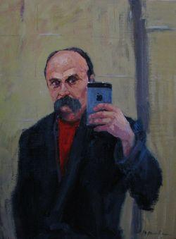 Тарас Шевченко робить селфі на iPhone. Художник Юрій Шаповал