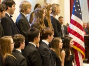 Harwood High School students sing at Gov. Peter Shumlin's inauguration. Photo by Roger Crowley