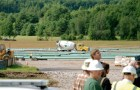 Sections of pipe are encased in cement at Vermont Gas' staging area in Williston. Photo by John Herrick/VTDigger