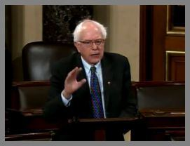 Sen. Bernie Sanders, I-Vt., on the floor of the Senate where he filibustered on Dec. 10, 2010 for 8.5 hours.