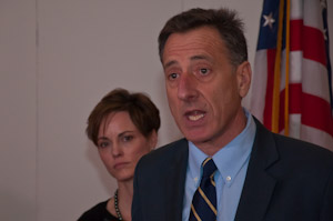 Photo of Peter Shumlin and Liz Miller.
