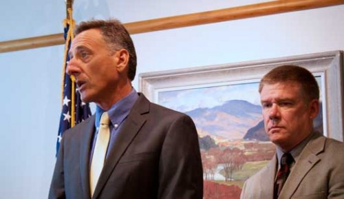 Gov. Peter Shumlin with Keith Flynn, commissioner of the Department of Public Safety. VTD/Taylor Dobbs