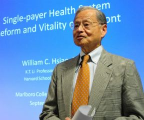 Professor William Hsiao, who proposed a design for Vermont's proposed single payer health care system, spoke about the links between access to health care and economic vitality at a presentation last week at the Marlboro College Graduate School in Brattleboro. Randolph T. Holhut/The Commons