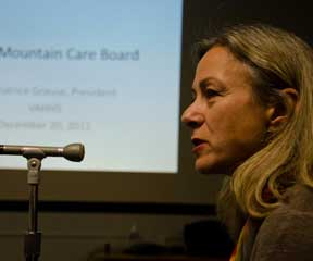 Beatrice Grause presenting information on Vermont hospitals to the Green Mountain Care Board. VTD/Josh Larkin