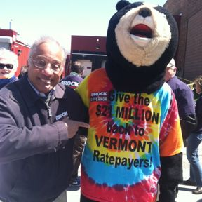 "Sen. Randy Brock, Republican candidate for governor, poses with a ""Bear for Brock."" Courtesy photo"
