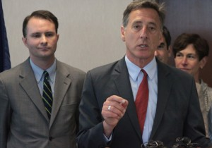 Governor Peter Shumlin praised Chittenden County State's Attorney T.J. Donovan's rapid intervention program at a press conference Tuesday. VTD Photo/Taylor Dobbs