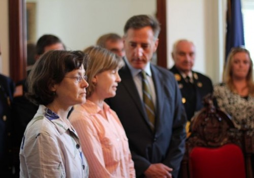 Gov. Peter Shumlin signed Act 155 Tuesday, a law that deals with search rescue procedures. The law came in response to the tragic death of Levi Duclos, who died of hypothermia while hiking in the Green Mountain National Forest. Duclos' mother and aunt attended the signing. Photo by Alan Panebaker