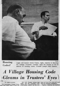 Montpelier attorney David Putter, then a legal aid clerk, helped write the codes. (newspaper clipping, July 1969)