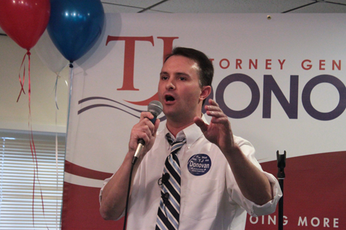 Chittenden County State's Attorney TJ Donovan at the launch of his campaign for attorney general in May. VTD File Photo/Taylor Dobbs