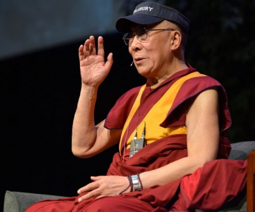 The Dalai Lama at Middlebury College. Photo by Brett Simison