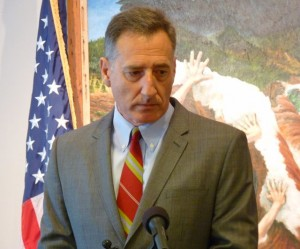 Gov. Peter Shumlin at a Fifth Floor presser, Nov. 27, 2012. Photo by Anne Galloway