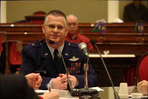 Vermont Air Guard Brig. Steven Cray is interviewed by the House General, Housing and Military Affairs Committee for the post of adjutant general of Vermont National Guard on Thursday, Feb. 14, 2013. Photo by Nat Rudarakanchana