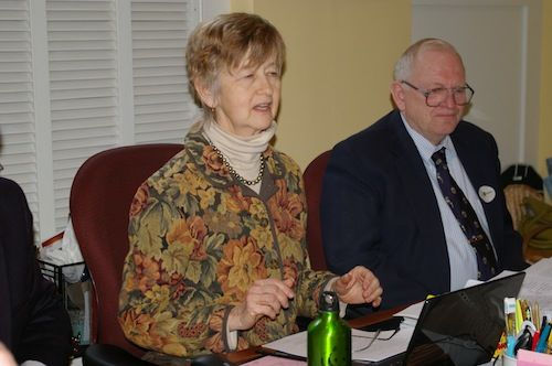 Democratic Rep. Carolyn Partridge, who chairs the House Agriculture Committee, announces the result of the 8-3 vote in favor of the GE labeling bill that she supported. Sitting next to her is Vice Chair Rep. Richard Lawrence, R-Lyndonville, who opposed the legislation.  Photo by Andrew Stein
