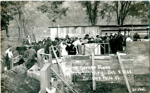 Residents of Rockingham turned out in Bellows Falls on Oct. 8, 1908, to watch the cornerstone being laid for the town's Carnegie library. Photograph courtesy of Vermont Historical Society.