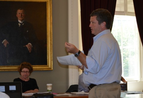 Jon Erickson, of UVM's Gund Institute, presents the GPI data to lawmakers Tuesday, July 30, 2013. Sen. Diane Snelling, D-Chittenden, is in the background. Photo by Alicia Freese/VTDigger