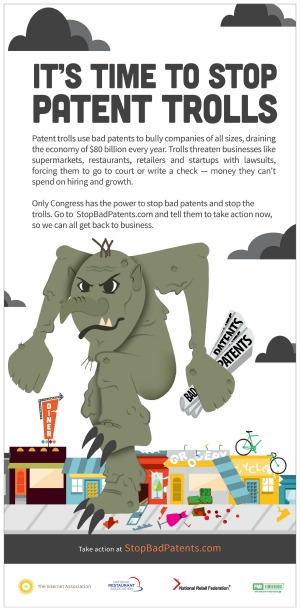 "An advertisement by the Internet Association seeks support in the fight against ""patent trolls."" Courtesy image."