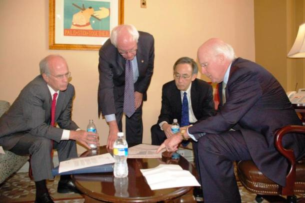 Vermont's congressional delegation -- Rep. Peter Welch (left), Sen. Bernie Sanders and Sen. Patrick Leahy (right) -- meet with then-Secretary of Energy Steven Chu. Photo courtesy of Sen. Leahy's Office