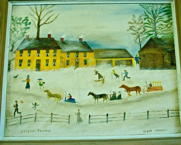 "Bessie Drennan's ""Yellow Tavern"" painting, which was on display recently at Woodbury's annual Bessie Drennan Exhibit and Craft Sale. The ""Yellow Tavern"" was the name of an establishment her family owned, one frequented by the workers in the town granite quarries in the early 20th century. Photo by Dirk Van Susteren"