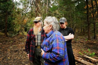 Fred and Beverly Grout and their son Luke forced loggers off their property, and now must repair the damage that was left. Photo by Hilary Niles/VTDigger