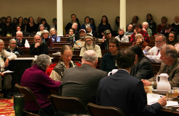 Sylvia Knight (center) of Charlotte delivers her testimony to the Senate Agriculture and Judiciary Committees on Thursday night. Photo by Andrea Suozzo/for VTDigger