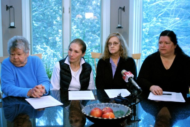 Addison County landowners, from left, Claire Broughton, Selina Peyser, Nancy Menard and Maren Vasatka outline their concerns over Vermont Gas Systems' plan for a natural gas pipeline during a news conference at Vasatka's home in Monkton Wednesday, Feb. 19, 2014. Photo by John Herrick/VTDigger
