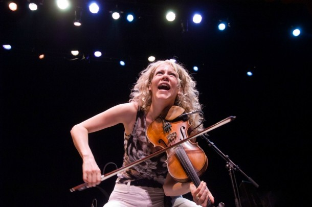 Canadian fiddler Natalie McMaster during one of her lively performances, this one at the Lebanon Opera House in New Hampshire. Copyright photo by Jack Rowell