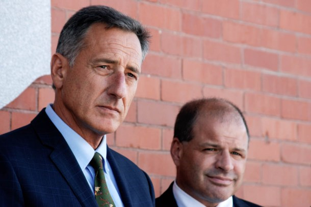 Gov. Peter Shumlin and Lawrence Miller, chief of the state's heath care reform effort, attend a news conference Thursday in Barre to announce an grant to repair flood damage in the city. Photo by John Herrick/VTDigger