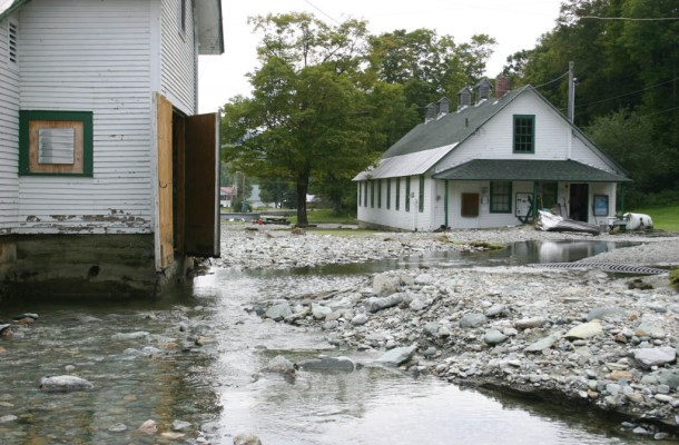 Floodwaters remain at the Roxbury fish hatchery shortly after Tropical Storm Irene struck in August 2011. Photo courtesy of Vermont Fish and Wildlife