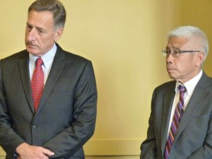 Gov. Peter Shumlin (left) and interim Secretary of the Agency of Human Services Harry Chen announced Tuesday that the Vermont Health Connect website will be offline for repairs. Photo by Morgan True/VTDigger