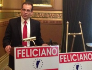 Libertarian candidate for governor Dan Feliciano holds a news conference on Medicare. Photo by Morgan True/VTDigger
