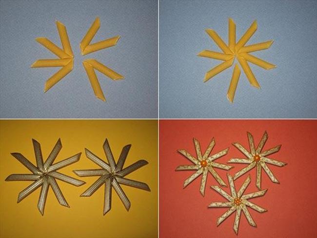 Новогодние елки из макаронных изделий