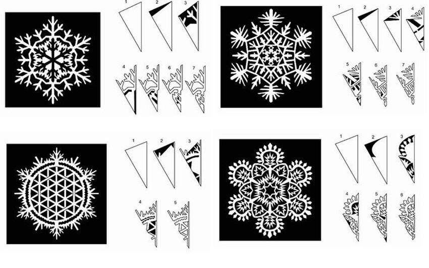снежинки из бумаги,