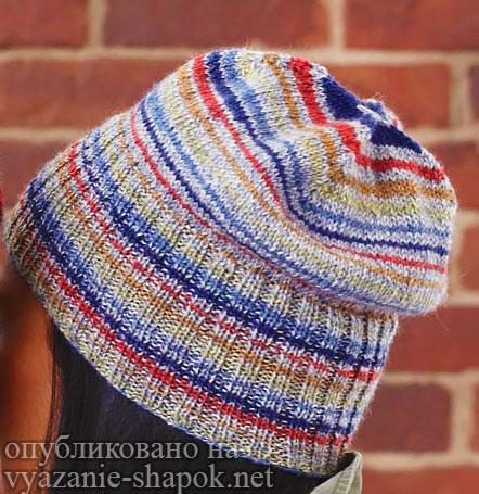 Вязание спицами шапки молодежь