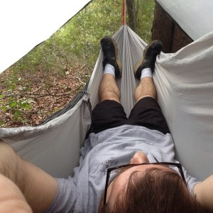 My first time in a hammock, and I can't wait to sleep in it!