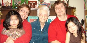 Kelvington's Gladys Lowndes, whose 105th birthday is Jan. 23, 2014, visits with her twin granddaughters Sandra (left) and Susan Lowndes, and Susan's daughters Truen (left) and Tasso.