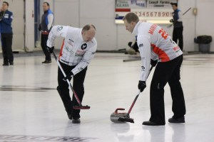 Team Korte watches a rock closely for curl on Sunday morning.