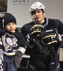 Lee and Kerrie Johnson and their sons Jayden (above) and Gavin, from Margo, recently took in an Oilers vs Penguins hockey game in Edmonton. They met and got autographs from all the Pittsburgh players and were especially pleased to meet Sidney Crosby.